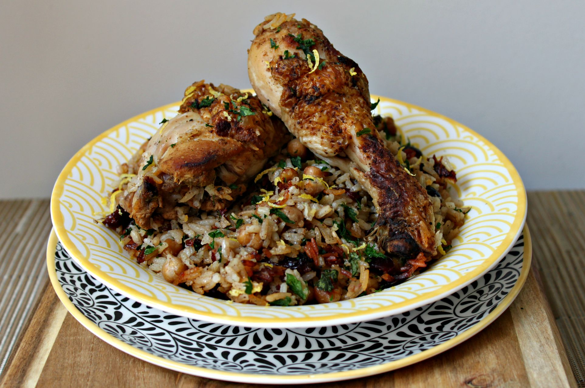 A fragrant yet mild middle eastern spiced chicken with chickpea and cranberry pilaf bursting with middle eastern flavours and all cooked in one pot!
