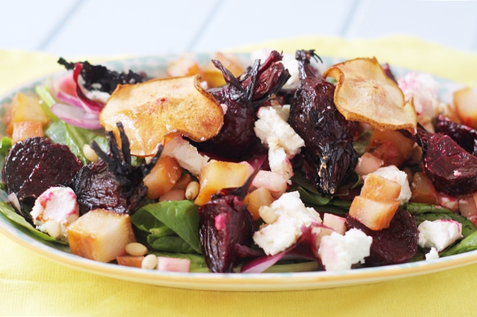 Tender pear balsamic beetroot salad made with tender baby beets roasted in balsamic vinegar, pear cooked three ways and tangy goat's cheese