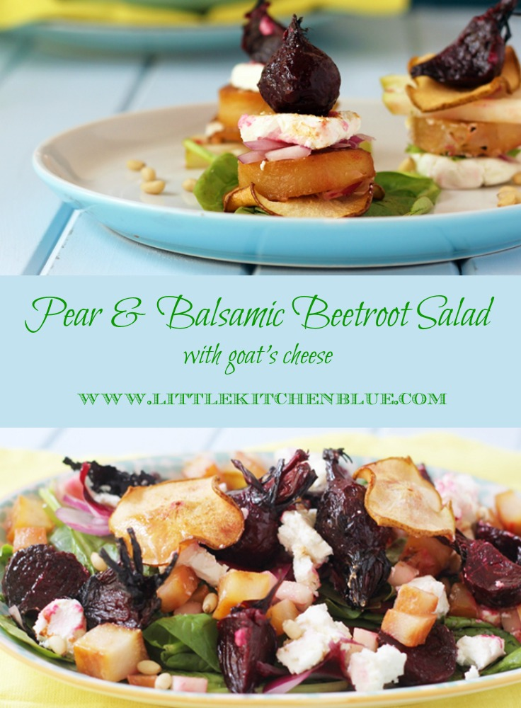 Tender pear & balsamic beetroot salad made with tender baby beets roasted in balsamic vinegar, pear cooked three ways and tangy goat's cheese