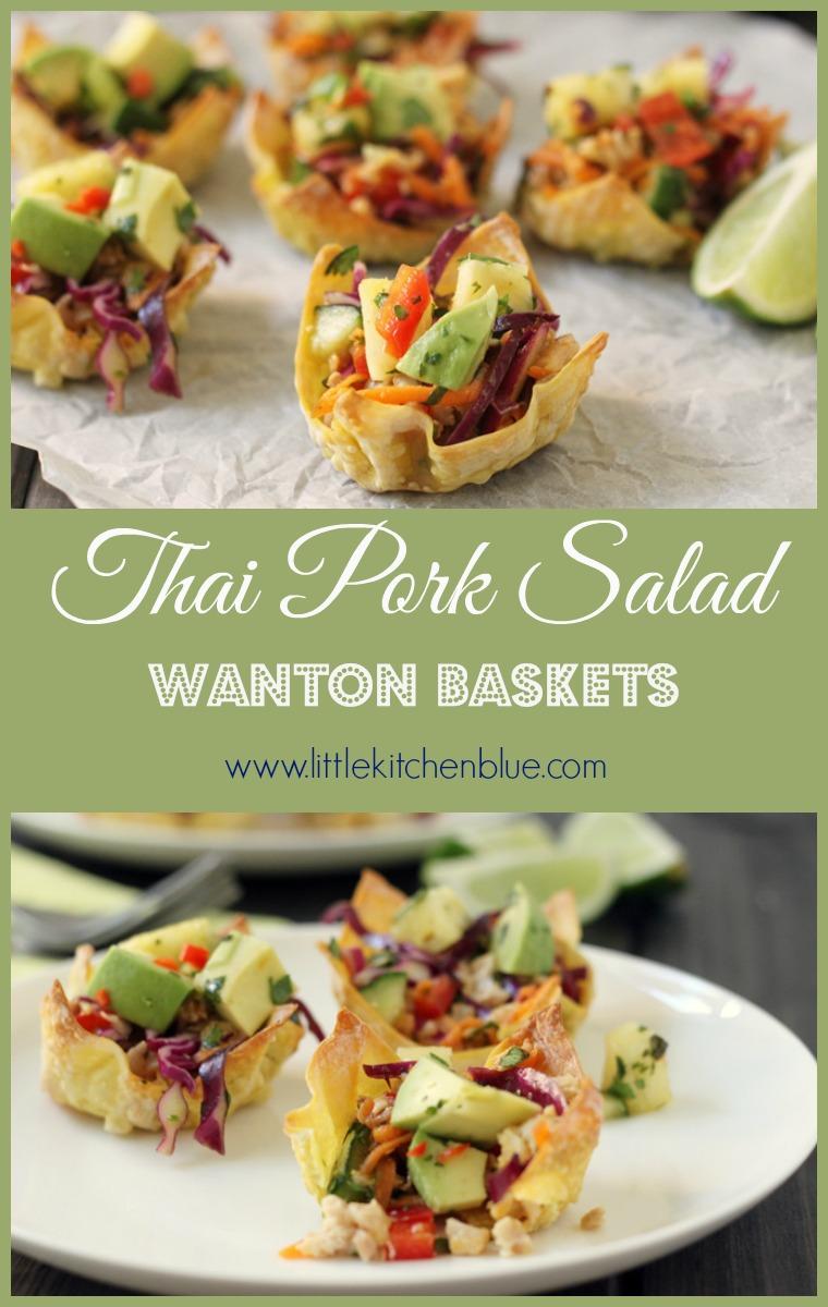 Thai Pork Wonton Baskets with Pineapple Salsa